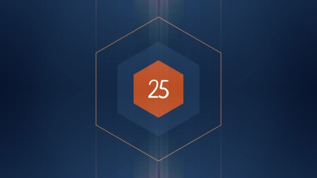 The number 25 appears and has glow and light streaks. Numbers Animation with Alpha Channel
