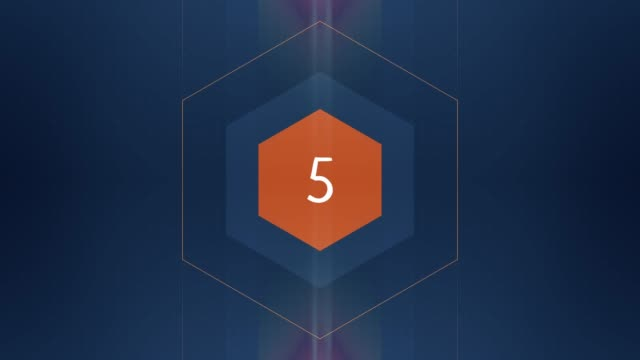 The number 5 appears and has glow and light streaks. Numbers Animation video