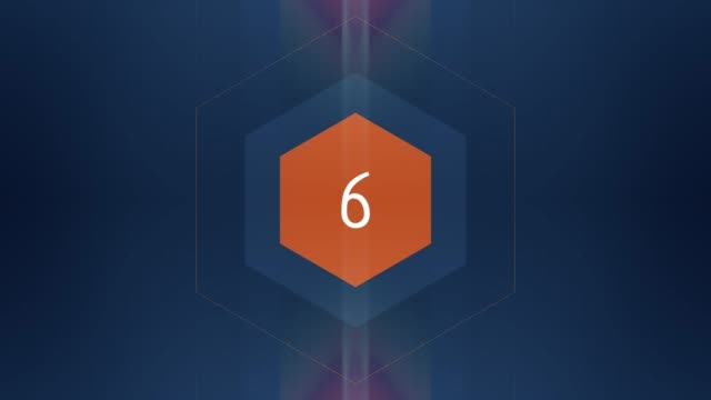 The number 6 appears and has glow and light streaks. Numbers Animation with Alpha Channel