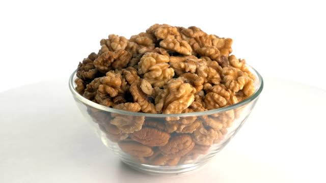 The nut walnut rotates on the turntable.