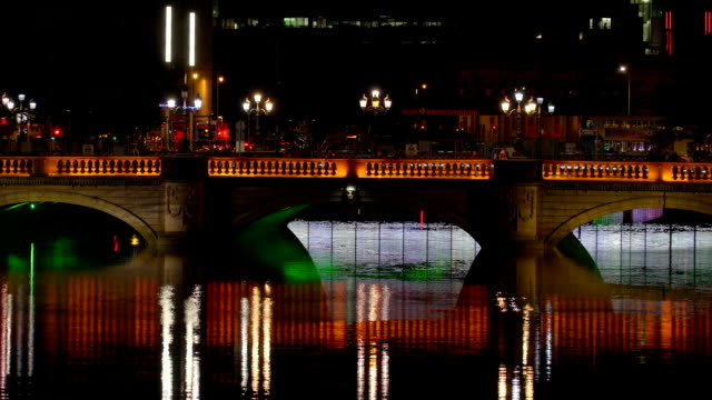 The O Connell bridge taken during the night in Dublin video