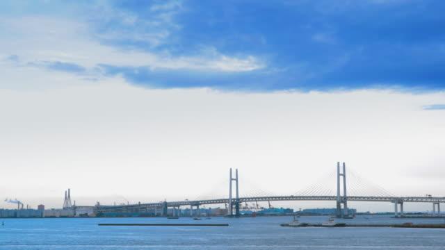 The ocean of Yokohama and the huge suspension bridge, Yokohama Rainbow Bridge