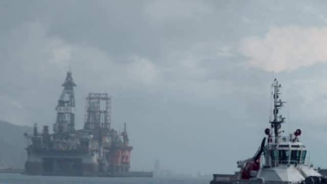 the oil platform next to the seaport the oil platform next to the seaport in the Atlantic Ocean video