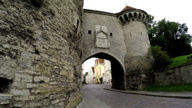 The old city in Tallinn, Estonia. Big sea gate video