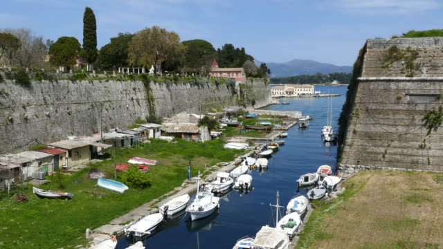 The old Fortress, Corfu town, Greece. The Contrafossa canal that connecting the Gulf of Kerkyra with the Bay of Garitsa. video