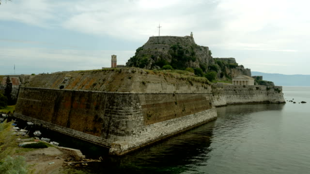 The old fortress the Paleo Frurio in Corfu in Greece. 4K