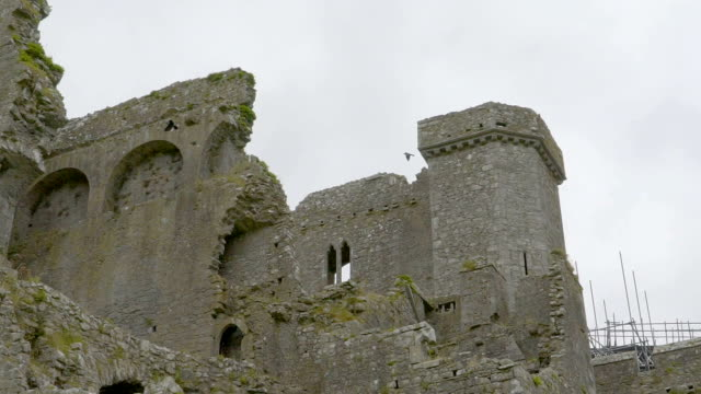 The old ruined castle tower on the city video