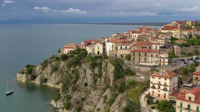 The old town of Agropoli perched on the rock