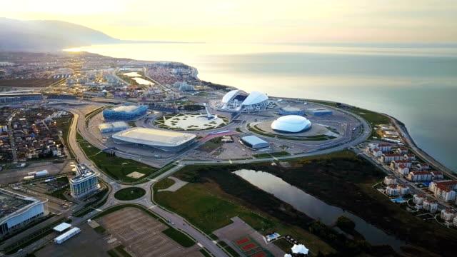 vidéos et rushes de le complexe olympique à sochi.aerial avis - 2018