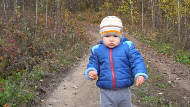 vídeos y material grabado en eventos de stock de el chico lindo bebé un año de edad está haciendo sus primeros pasos en el bosque del otoño. cámara lenta. - abrigo