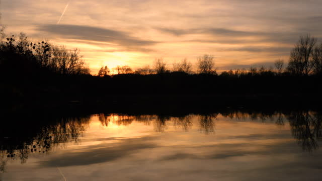 暗い色と地平線上の太陽の強い影湖夕日のオレンジに合う木の後ろと、空が色の雲。 - チェコ共和国点の映像素材/bロール