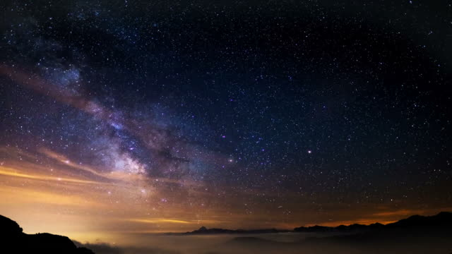 The outstanding beauty of the Milky Way and the starry sky captured at high altitude in summertime on the Italian Alps, Torino Province. Time Lapse video. video