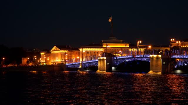 The Palace Bridge at night. Saint-Petersburg video