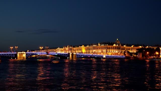 The Palace Bridge near the Hermitage at night St. Petersburg video