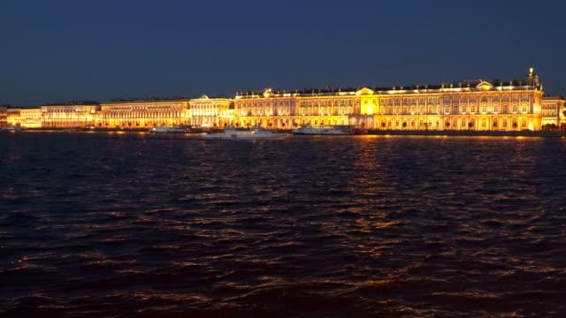 The Palace Embankment. Hermitage. Night video