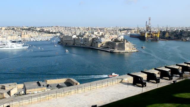 The panning of Birgu and yacht marina, Birgu, Malta video