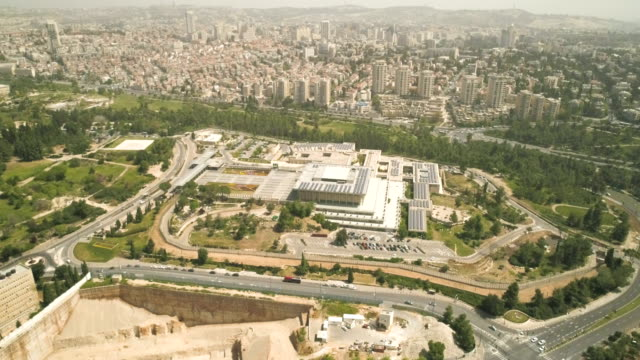 The parliament of Israel in Jerusalem - Aerial shot Aerial View Of Knesset Building Jerusalem, Israel National Parliament Government supreme court stock videos & royalty-free footage