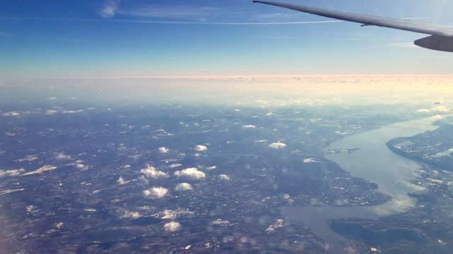 pasenger 飛機飛越哈得遜河, 新澤西州 - 航拍 個影片檔及 b 捲影像