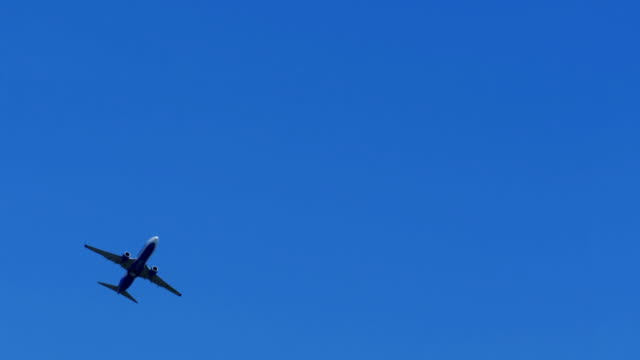 The Passenger Airplane is Flying Far in the Blue Sky video