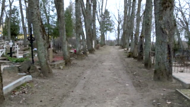 The pathway inside the cemetery in the town video