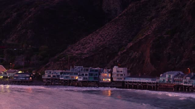 The Pch In Malibu At Sunset Aerial View Stock Video - Download Video