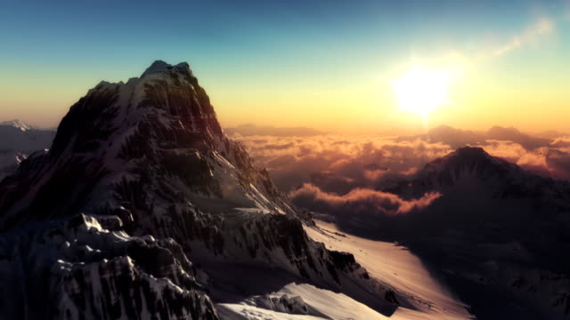 The perfect mountain aerial shot in sunset