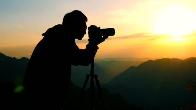 The photographer shot the mountain sunset