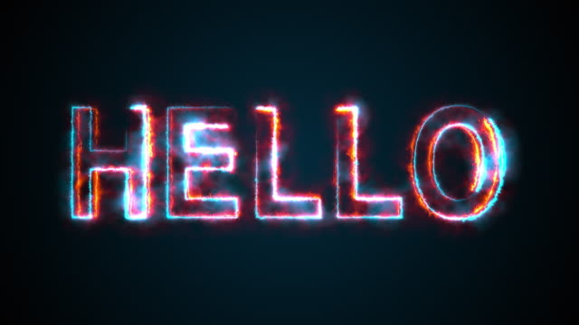 The phrase Hello, computer generated. Burning inscription. Capital letters. 3d rendering welcome background