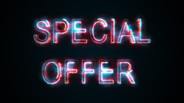 The phrase Speial offer, computer generated. Burning inscription. Capital letters. 3d rendering of colorful trading background