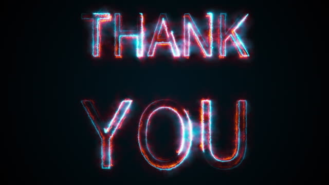 The phrase Thank you, computer generated. Burning inscription. Capital letters. 3d rendering text background