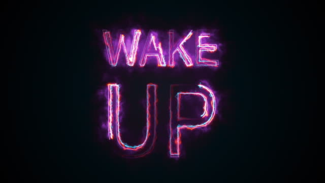 The phrase Wake up, computer generated. Burning inscription. Capital letters. 3d rendering text background