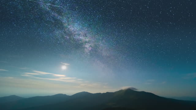 流星群の背景にある美しい山の景色。時間経過 - 星型点の映像素材/bロール