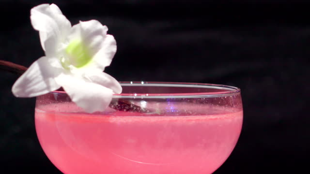 the pink cocktail drink with the white flower on top - vodka video stock e b–roll