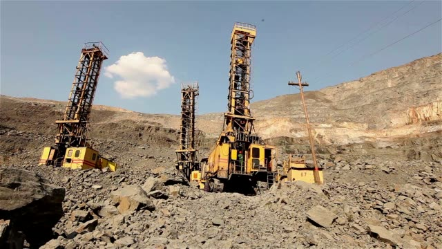 The pit drill panorama, Industrial exterior, Iron ore quarry panorama video