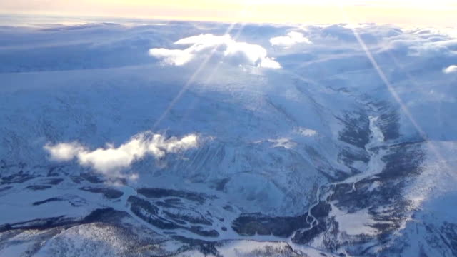 the polar urals from the height of bird flight - monti urali video stock e b–roll