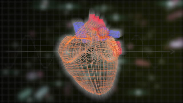 vídeos de stock e filmes b-roll de the polygonal three-dimensional heart pulsing over black background with colorful defocused laser rays floating. - veia