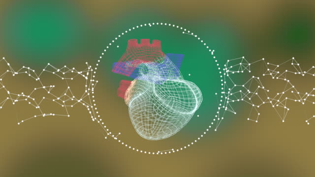 The polygonal three-dimensional heart rotating in the ring of plexus connections over colorful defocused background.