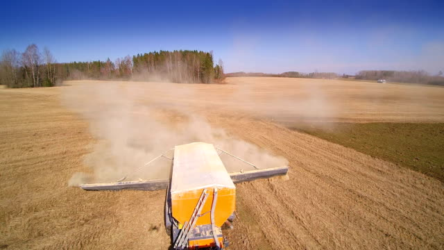 The process of agriliming in the field video