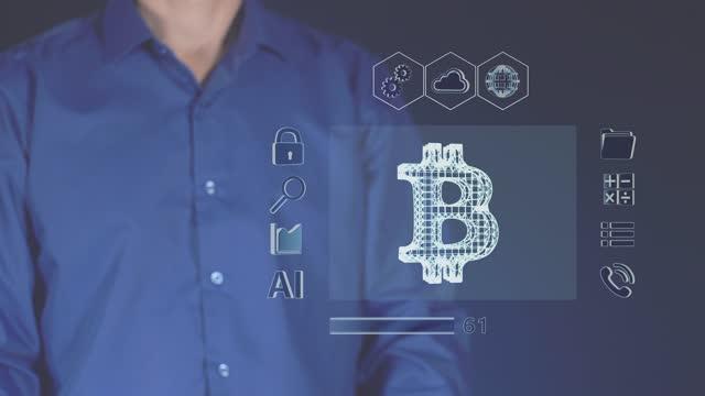 il processo di download della valuta digitale bitcoin. - criptovaluta video stock e b–roll