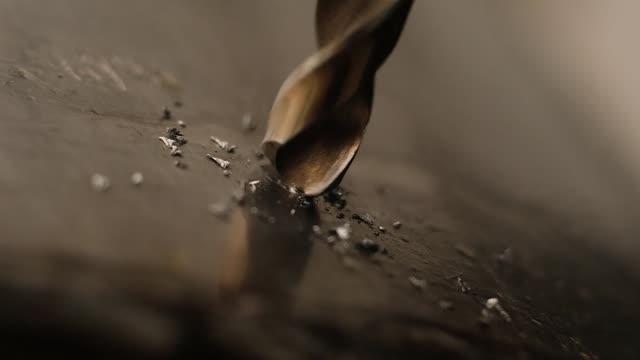 the process of drilling close-up. - нержавеющая сталь стоковые видео и кадры b-roll