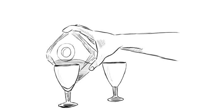 the process of pouring cognac into glasses - декантер стоковые видео и кадры b-roll