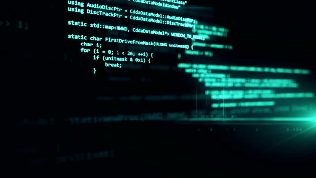 The programming code works through the computer screen terminal. The programming code works through the computer screen terminal. www stock videos & royalty-free footage