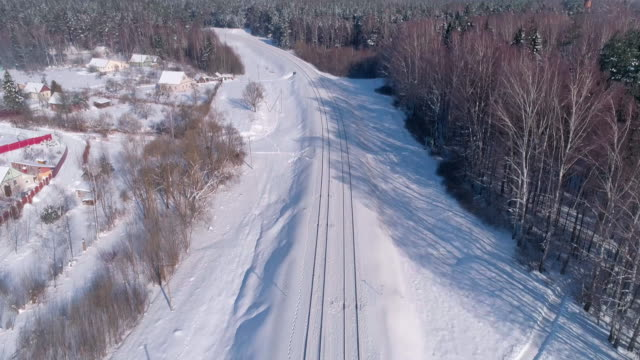 The railroad in the winter forest