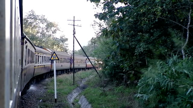 The railway curve and train at Thailand. video