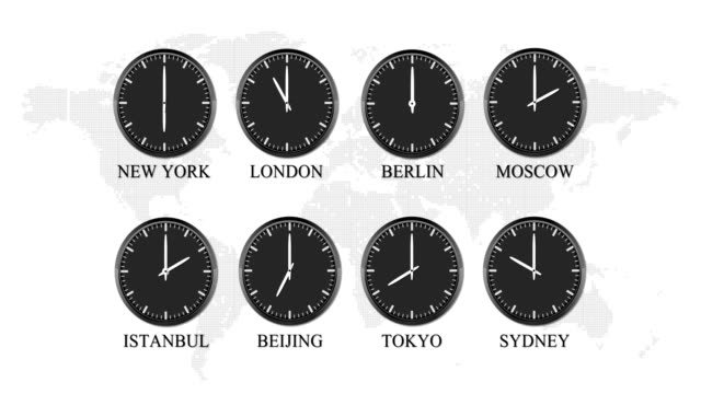The Real World Clock Loop, Capital Cities Time Of The Day, 4K Video The world time are shown in seamless animation. Every one second it passes one hour. Exact real times differences are shown. time zone stock videos & royalty-free footage