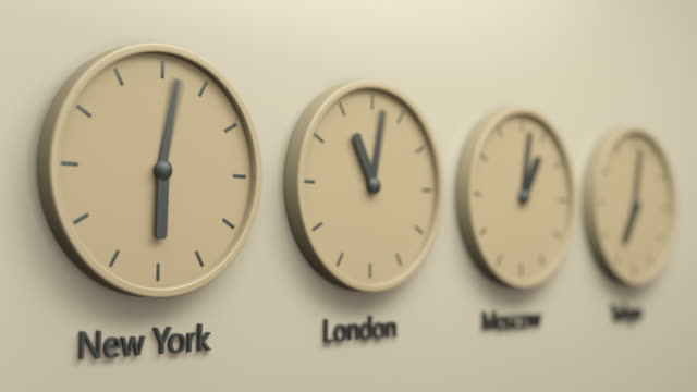 The real world clock loop, capital cities time of the day