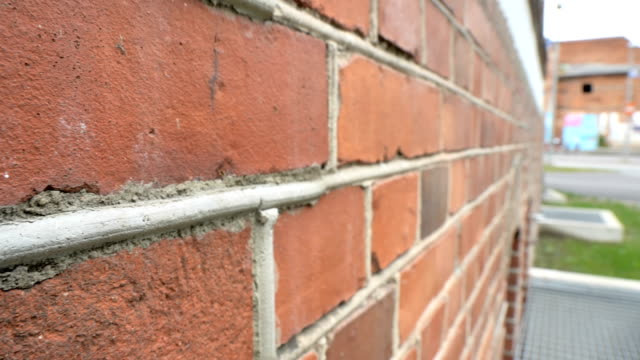 The red bricks of the wall of the house