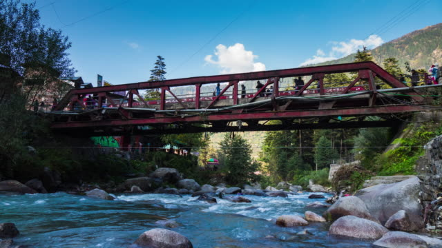 The red bridge in Old Manali, Himachal Pradesh, India video
