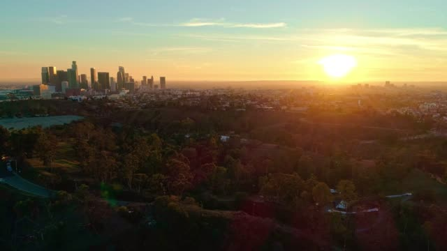 vídeos de stock e filmes b-roll de the remote aerial view of downtown los angeles from the elysian park at sunset - horizonte