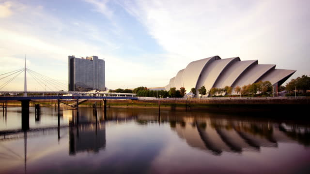 The River Clyde and SECC, Glasgow, Scotland Timelapse of the River Clyde and SECC, Glasgow, Scotland scotland stock videos & royalty-free footage